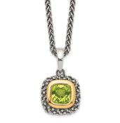 Sterling Silver & 14K Gold Cushion Peridot August Necklace