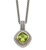 Sterling Silver & 14K Gold Peridot Antiqued August Necklace