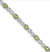 Sterling Silver Diamond & Peridot August Bracelet