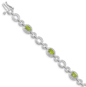 Sterling Silver Diamond & Peridot August Oval Link Bracelet