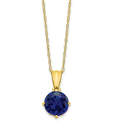10K Yellow Gold Diamond & Sapphire September Necklace