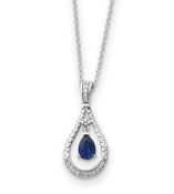Sterling Silver Sapphire September Teardrop Necklace