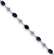 Sterling Silver Diamond & Sapphire September Bracelet