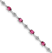 Sterling Silver Diamond & Pink Tourmaline October Bracelet