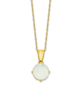 10K Yellow Gold Diamond & Opal October Necklace