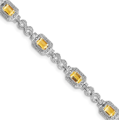 Sterling Silver Diamond & Citrine November Bracelet