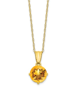 10K Yellow Gold Diamond & Citrine November Necklace