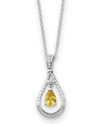 Sterling Silver Cubic Zirconia Citrine Teardrop Necklace