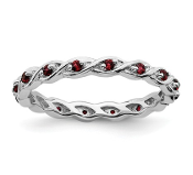 Sterling Silver Stackable Red Garnet January Ring