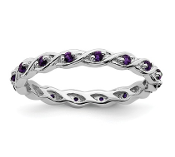 Sterling Silver Stackable Purple Amethyst February Ring
