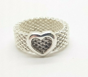 Tiffany & Co Sterling Silver Somerset Mesh Heart Ring Size 4.75