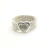 Tiffany & Co Sterling Silver Somerset Mesh Heart Ring Size 7.75
