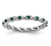 Sterling Silver Stackable Emerald May Ring