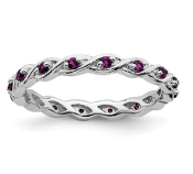 Sterling Silver Stackable Rhodolite Garnet June Ring