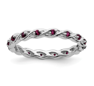 Sterling Silver Stackable Red Ruby July Ring