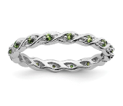 Sterling Silver Stackable Peridot August Ring