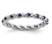 Sterling Silver Stackable Blue Sapphire September Ring