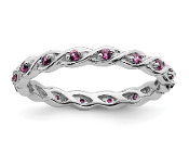 Sterling Silver Stackable Pink Sapphire October Ring