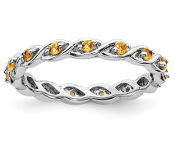 Sterling Silver Stackable Yellow Citrine November Ring