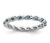 Sterling Silver Stackable Blue Topaz December Ring