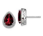 Sterling Silver CZ & Garnet January Earrings