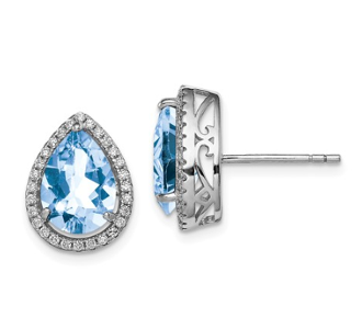 Sterling Silver CZ & Aquamarine March Earrings