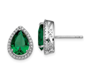 Sterling Silver CZ & Emerald May Earrings