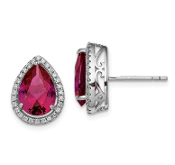 Sterling Silver CZ & Ruby July Earrings