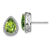 Sterling Silver CZ & Peridot August Earrings