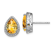 Sterling Silver CZ & Yellow Citrine November Earrings