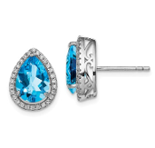Sterling Silver CZ & Blue Topaz December Earrings