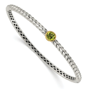 Sterling Silver & 14K Gold Peridot August Bangle Bracelet