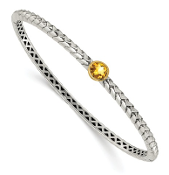 Sterling Silver & 14K Gold Citrine November Bangle Bracelet