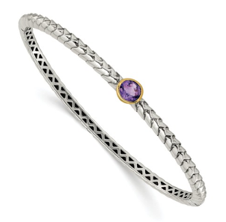 Sterling Silver & 14K Gold Amethyst February Bangle Bracelet