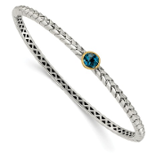 Sterling Silver & 14K Gold Blue Topaz December Bangle Bracelet