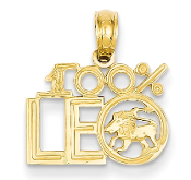 14K Yellow Gold Zodiac 100% Leo Lion Pendant