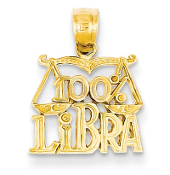 14K Yellow Gold Zodiac 100% Libra Scale Pendant