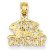 14K Yellow Gold Zodiac 100% Capricorn Sea Goat Pendant