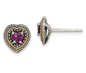 Sterling Silver & 14K Gold Purple Rhodolite Garnet Heart Earring