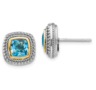 Sterling Silver & 14K Gold Cushion Blue Topaz Earrings