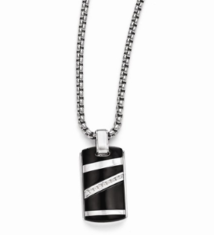 Sterling Silver & Titanium Diamond Pendant Dog Tag Necklace