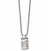 Sterling Silver & Titanium Diamond Bezel Pendant DogTag Necklace