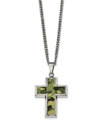 Stainless Steel Polished Green Camo Cross Necklace