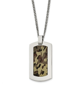 Stainless Steel Polished Brown Camo Dog Tag Necklace