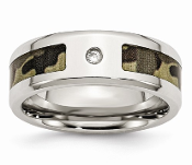 Stainless Steel Polished Brown Camo & CZ Band