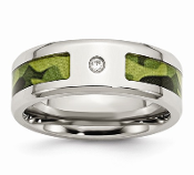 Stainless Steel Polished Green Camo & CZ Band