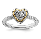 Sterling Silver & 14K Yellow Gold Diamond Heart Ring