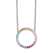 Sterling Silver Multicolor Rainbow CZ Open Circle Necklace