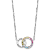 Sterling Silver Multicolor Rainbow CZ Double Circle Necklace