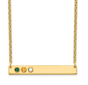 14K Yellow Gold Personalized 3 Crystal Birthstone Bar Necklace